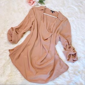Eileen Fisher Silk Crepe de Chine Rose Top Large